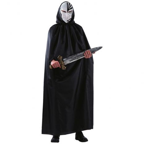 Cloak Black Taffeta with Mask 150cm Superhero Villian Fancy Dress